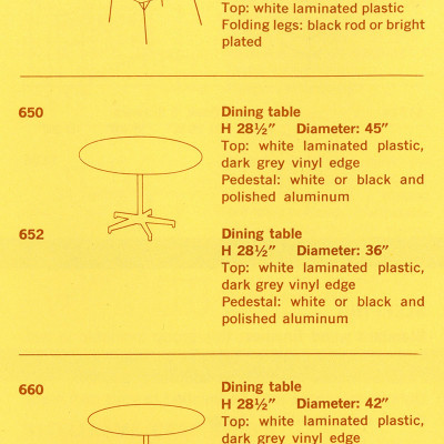 This 1957 Herman Miller catalog detailed the 650 tables options and variants