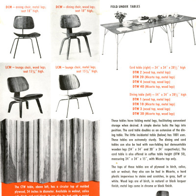 A 1950 Herman Miller brochure featuring the plywood series including DTM tables