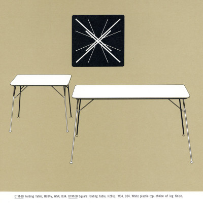 The 1964 Herman Miller catalog page for the DTM table range