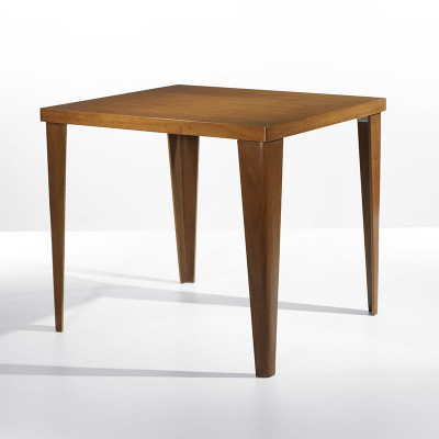 A walnut veneer version of the square shaped DTW-2 extension table