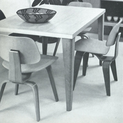 Original 1948 photograph of the plywood series including DTW table and DCW chair