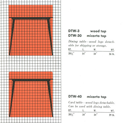 1952 Herman Miller catalog detailing the specifications of the DTW range