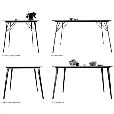 This 1955 Herman Miller catalog image shows the comparison of the DTM and DTW tables