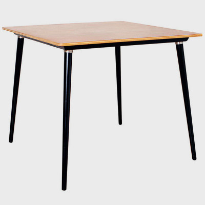 Natural veneer square table model DTW-4 shown with contrasting black legs