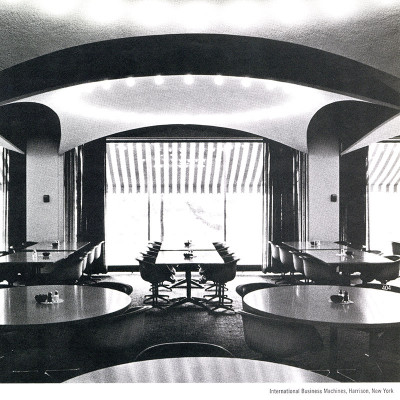 1960's photograph depicting the Contract Base tables at the headquarters of IBM