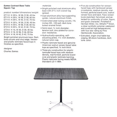 Specifications page of the square Contract Base tables in this 1979 Herman Miller catalog