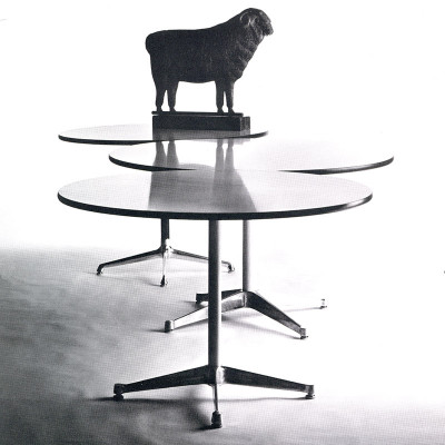 Early 1960's image of the contract base tables alongside a Universal table at the back to show the differences in style