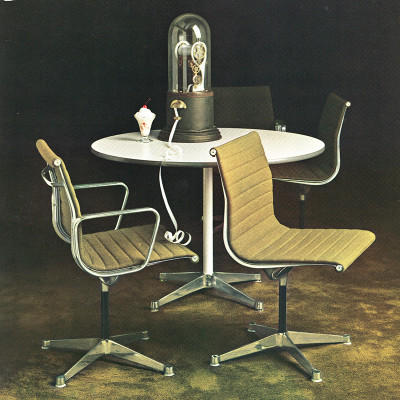 Nice 1963 Herman Miller catalog image of the Alu Group table with Contract base and chairs