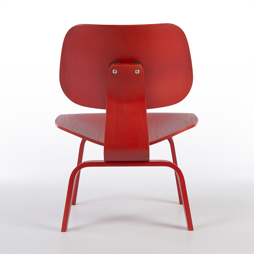 Red 2010s Herman Miller Eames LCW - Ply Lounge Chair Wood Chairs in very good condition
