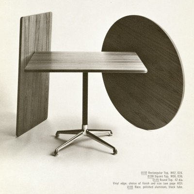 This mid 1960's Herman Miller catalog image shows the customizable nature of the Universal Table