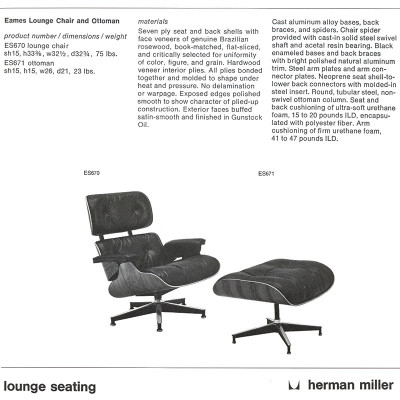 Late 1970's Herman Miller catalog page showing 7 ply version