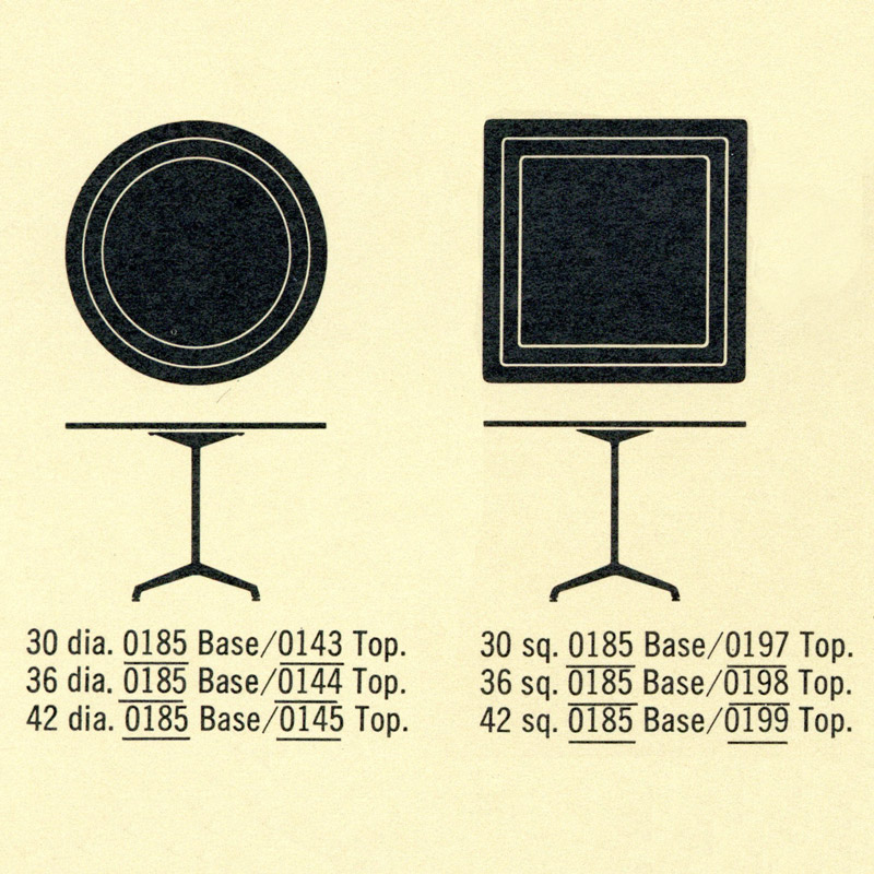 This 1964 Image depicts some of the custom (book and non-book) sizes of the Universal Tables available from Herman Miller. Rectangular tops were also available not shown.