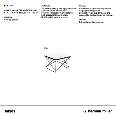 A 1978 Herman Miller brochure page depicting the specifications of the LTR tables