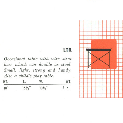 A snippet of the LTR specifications from the 1952 Herman Miller catalog