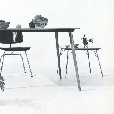 This 1950's Herman Milelr catalog image shows the comparable size of the IT compared to a DCM and DTW table