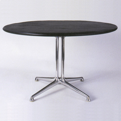 The Eames La Fonda side table seen with the natural slate top and polished Aluminum base