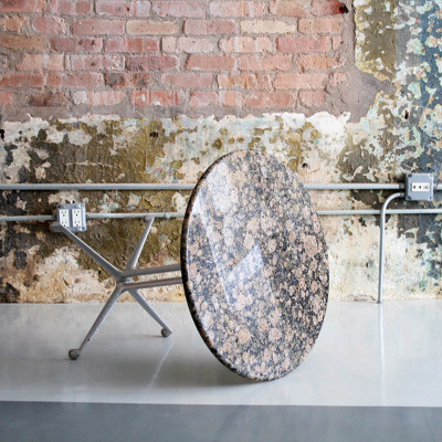 Interesting image of the La Fonda side table and a beautiful Onyx stone top