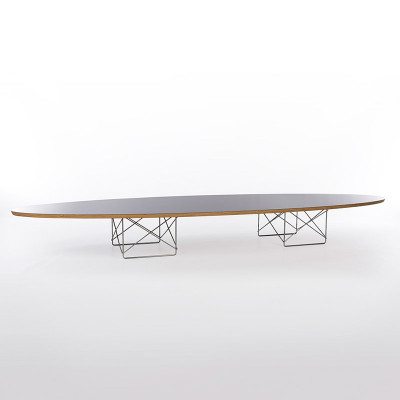 The Eames ETR table at full length resembled a surfboard sat atop two square rod bases