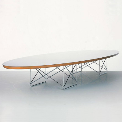 The Eames ETR coffee table with a white finish on the top surface