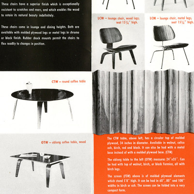 1950 Herman Miller plywood group brochure shows the change to the OTW acronym