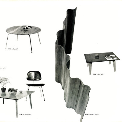 A 1955 Herman Miller catalog page featuring the plywood group with the Eames OTW table