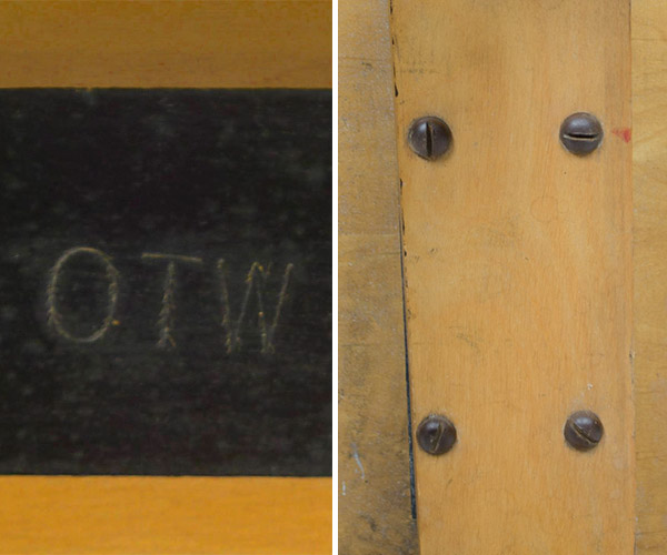 Left: The OTW model stamp is found in the black wooden top frame on the underside ofthe table. Right: The screw area is cleaned up by having the redundant center hole removed