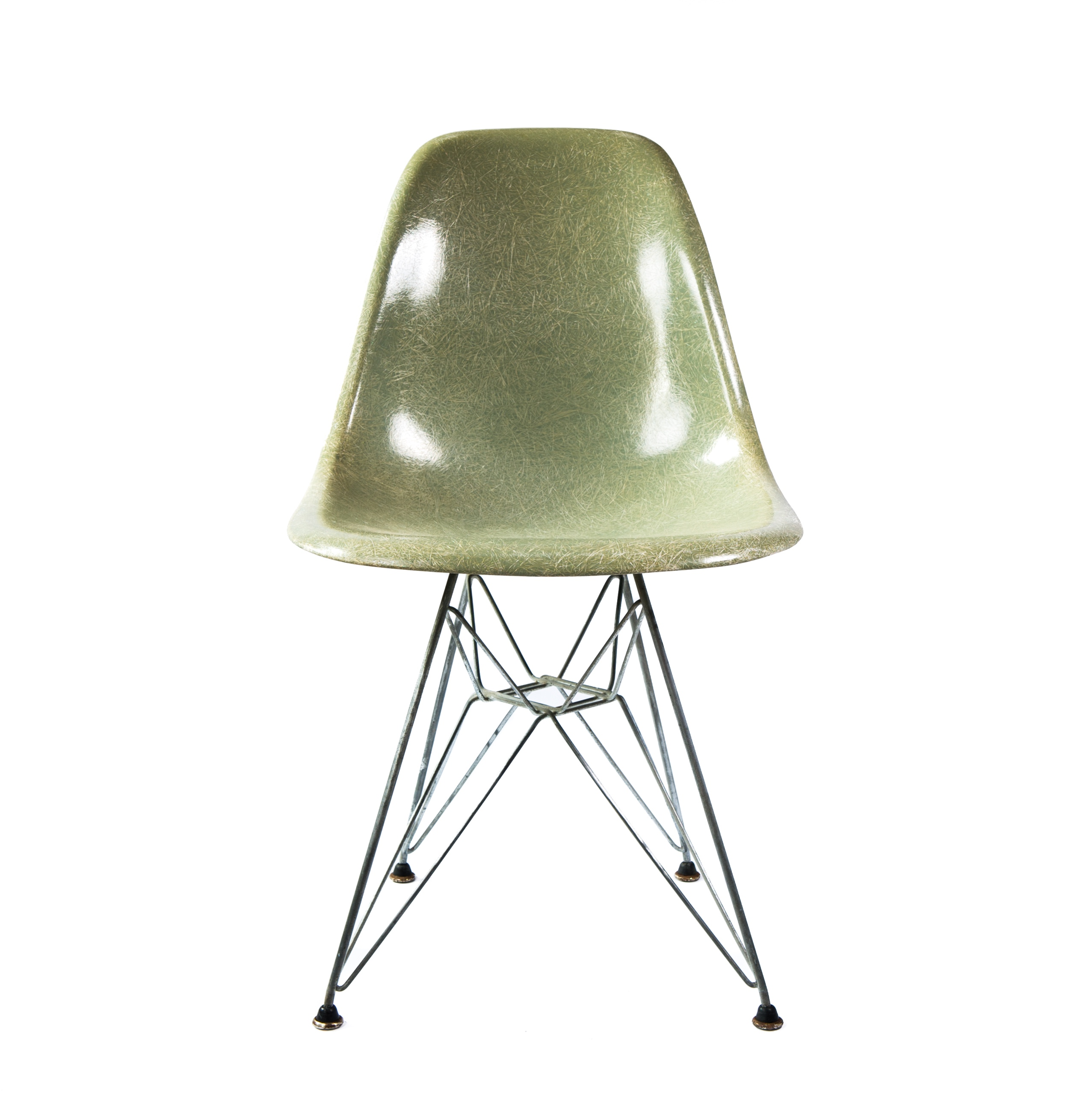 Sea Foam Green 1950s Eames DSR Eiffel Side Chairs in excellent condition