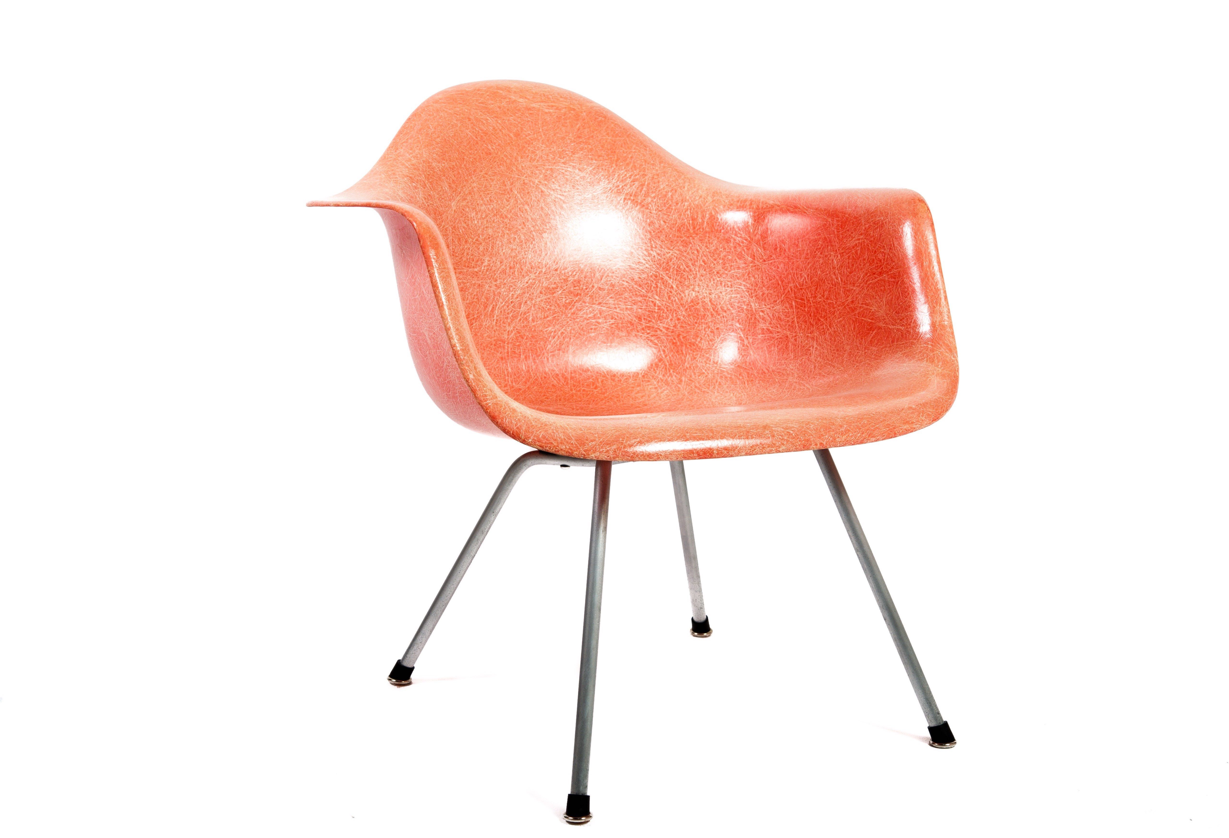 Red 1953 Zenith Plastics Eames DAX (& Variants) Arm Chairs in very good condition