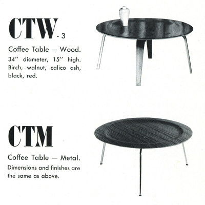 The 1948 Herman Miller catalog depicts the available finishes of the (still made by Evans) CTM tables