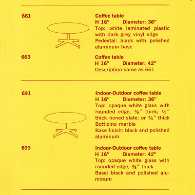 Original 1958 Herman Miller brochure specs for the Contract coffee table had 4 available models