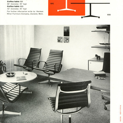First brochure release of the Aluminum Group included the Eames Contract base coffee table and chairs