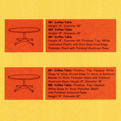 "This 1961 Herman Miller brochure extract shows the additional 48"" top size as an available option"
