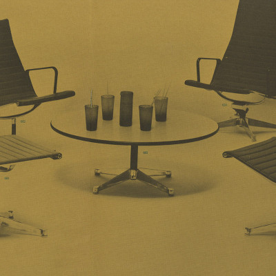 1960 Brochure depiction of the small model 663 Eames Contract Base coffee table