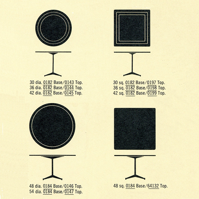 The Herman Miller 1964 extract displaying varying circular and (for the first time) square table tops for the contract base dining, work and coffee side tables.
