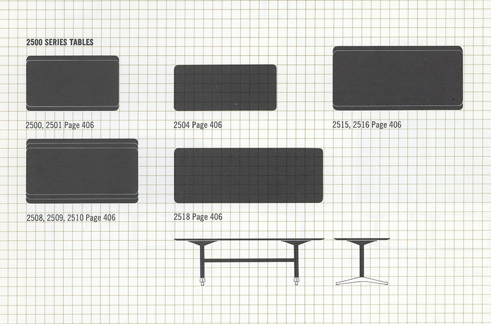 1964 Herman Miller catalog extract displaying the series from the side and from top down, to illustrate to the buyer the available options (now 9)