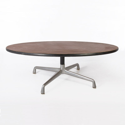 Eames Universal Base coffee table with the largest top in a natural Walnut veneer finish