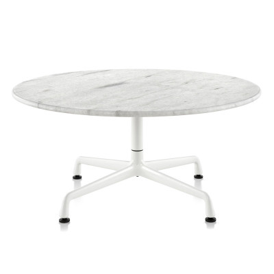 One of the modern versions of the Eames Universal Base coffee table is with white marble