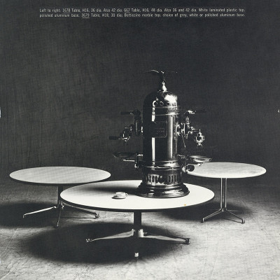 A 1964 Herman Miller catalog image showing the Universal Coffee Table (left) with La Fonda and Contract side tables