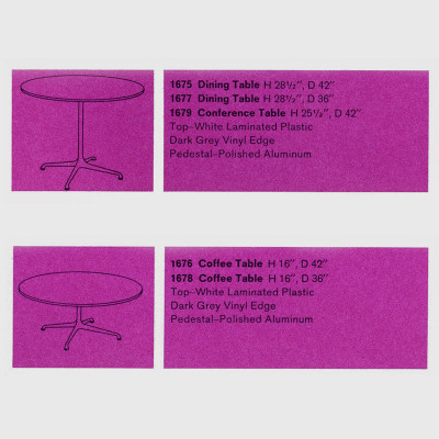 The original 1961 specifications of the Universal Coffee table (shown with matching dining tables) show two available book options
