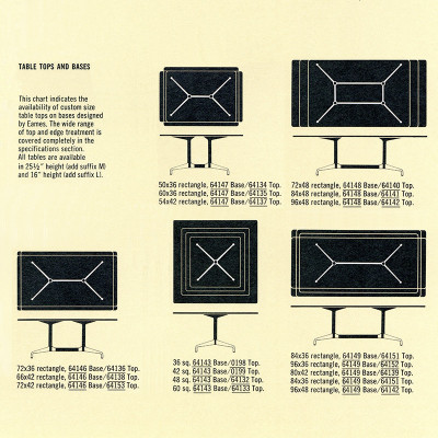 1964 catalog excerpt shows the customization options for the Segmented Table series