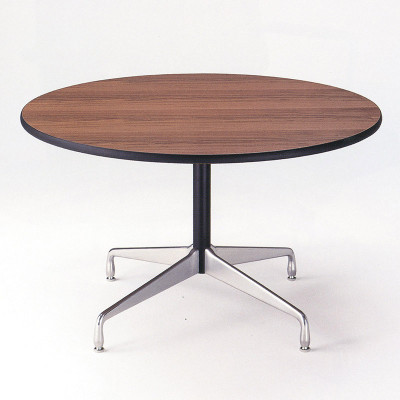 Smaller round dining, work based Segmented Table shown with a faux Walnut veneer top