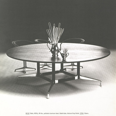 1964 Herman Miller catalog image of the 'Grand Circular' size Segmented Table which utilized a square shaped four column base