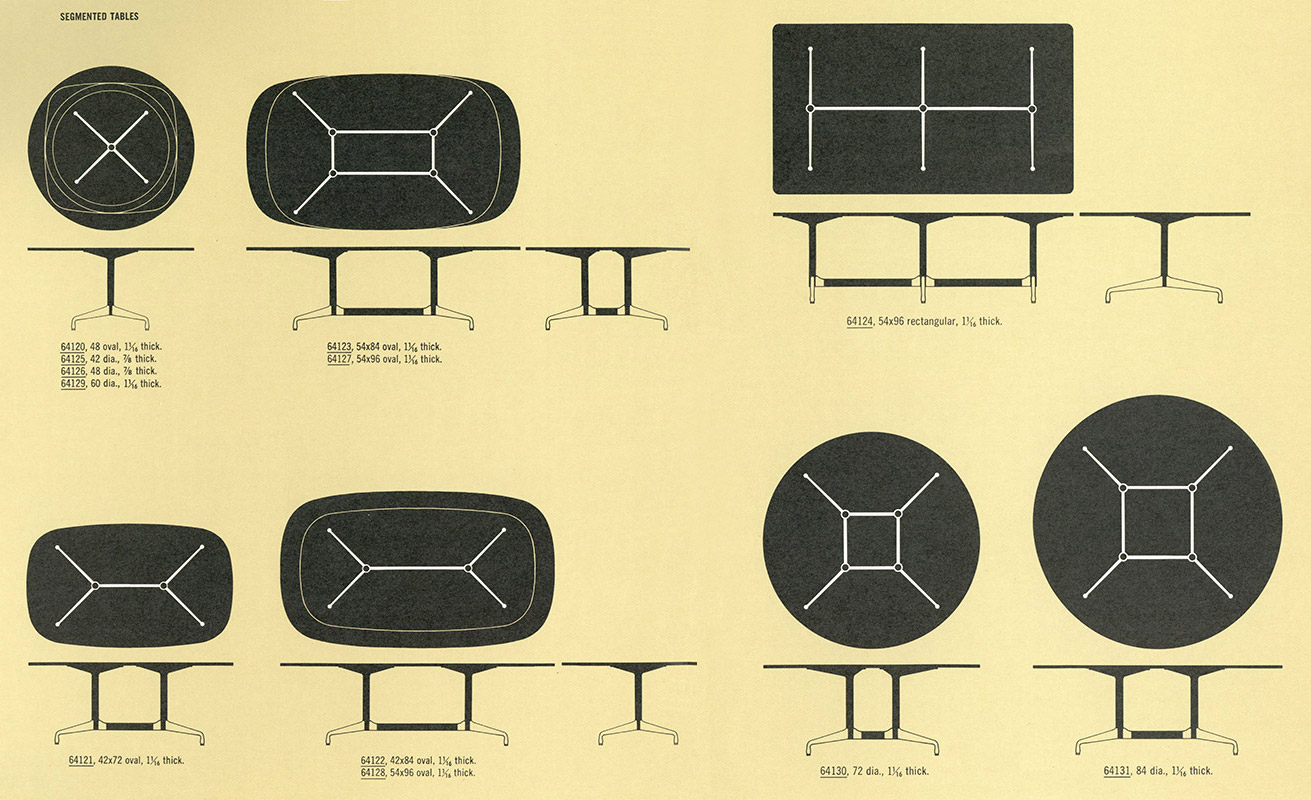 This 1964 Herman Miller catalog extract depicts just some of the 64100 series Segmented Table options available including circular, grand circular, rectangular and oval variants.
