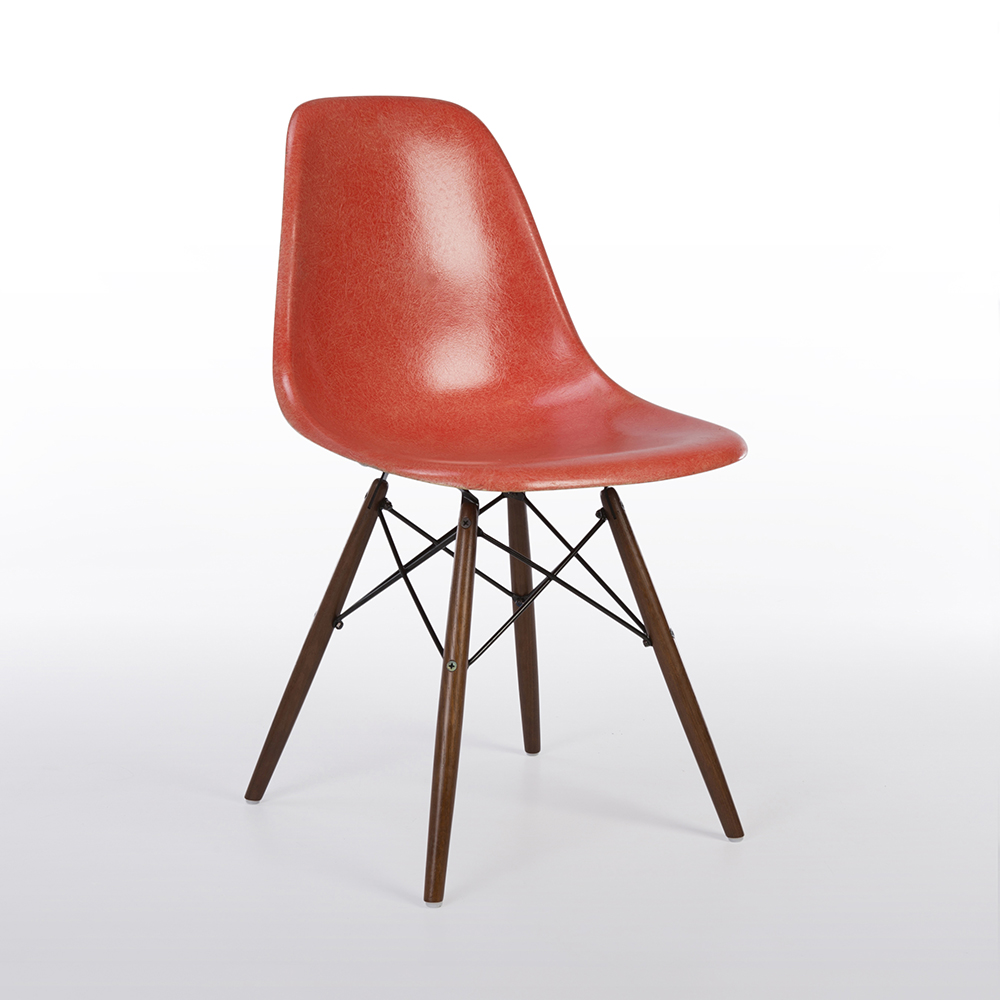 Salmon Orange 1960s Herman Miller Eames DSW Dowel Side Chairs in very good condition