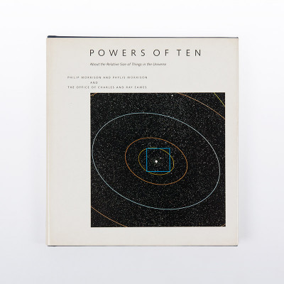 Cover picture of the first edition of the Powers Of Ten book released as a collaboration between the Eames Office and the authors