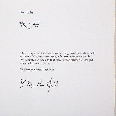 The books posthumous dedication to Charles Eames (In this case to Ray too & signed by the authors)