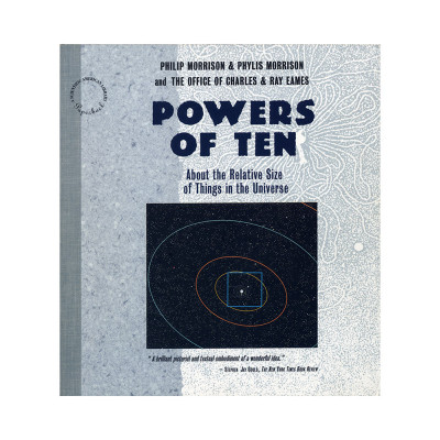 Cover of the later 1994 onward re-release of the original Powers Of Ten Book with a change of design