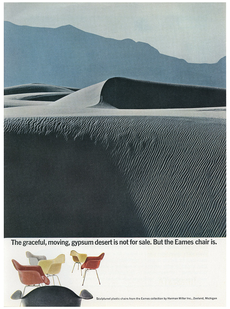 Early 1960's Herman Miller Advert for the Eames Fiberglass series with a view of comparing the beauty of the Eames Chair to that of nature