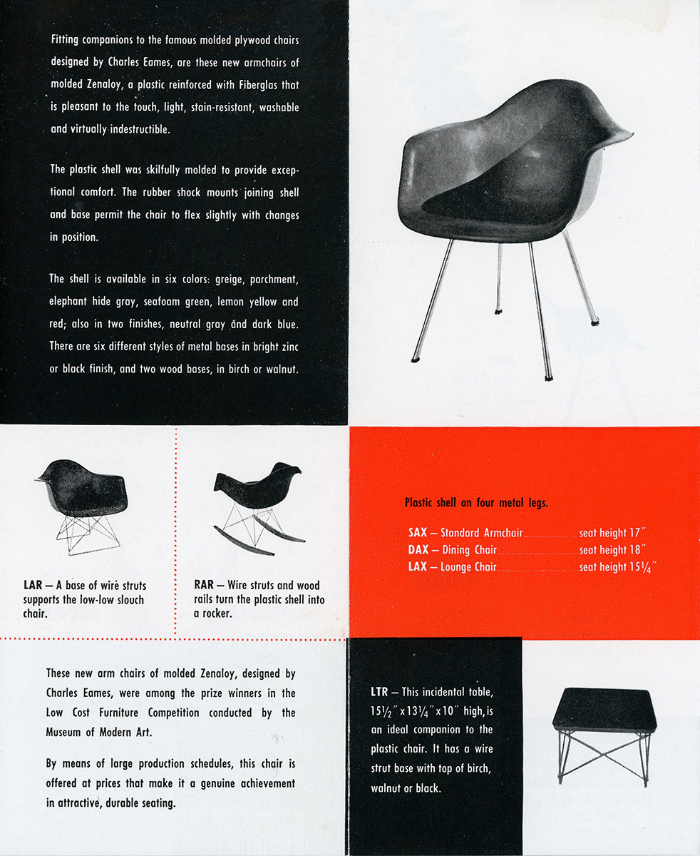 The original and first 1950 Herman Miller advert to feature the new Fiberglass Chairs - these were leaflet style brochures provided to furniture showrooms
