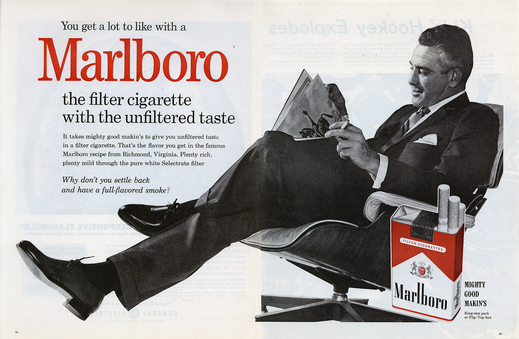 Everyone wanted to be seen with the Eames Lounge Chair & Ottoman, including this well known double page advert for this major brand in the 1950's